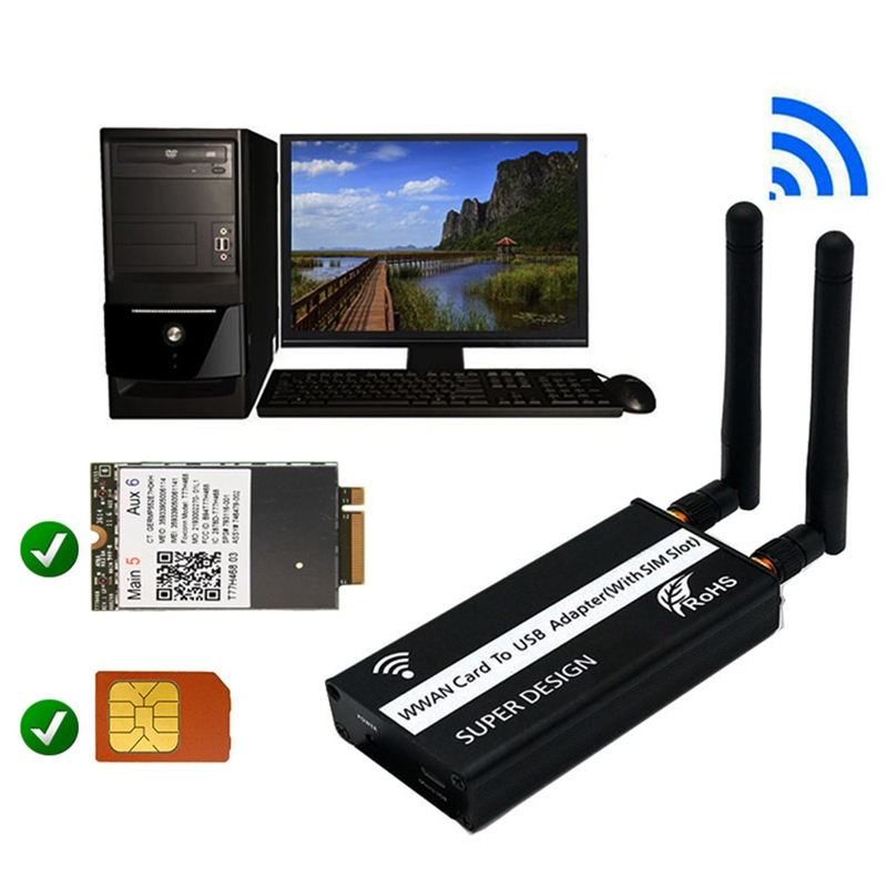Wireless NGFF M.2 Key B to USB Adapter with Sim Card Slot for WWAN/LTE/4G Module for Desktop/Laptop 5