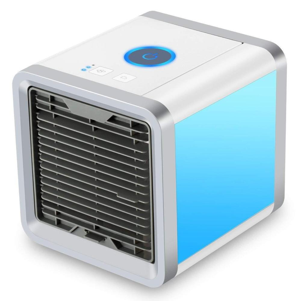 Portable Usb Air Cooler Fan 3 In 1 Adjustable Air Conditioner Mini Air Cooler Humidifier Purifier 7 Led Colors
