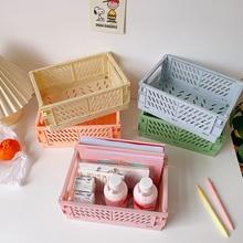 Large-Capacity Foldable Plastic Storage Basket Desktop Storage Box Diary, Stationery, School Office Supplies, Free Collocation