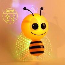 Crianças luzes da noite led abelha dos desenhos animados noite lâmpada sensor adorável bonito lâmpada de parede babybedroom decoração plug ue presentes do miúdo colorido lampe