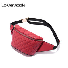 [FLASH SALE] LOVEVOOK fanny pack women waist bag female belt bag for girls small purse waist pack ladies plaid school bum bags(China)