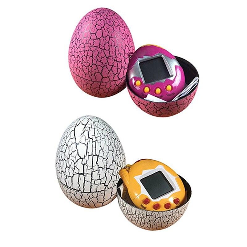 2x Electronic Pets Child Toy Key Digital Pets Tumbler Dinosaur Egg Virtual Pets White & Rose Red