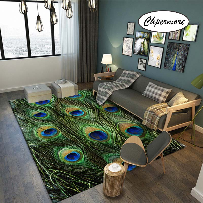 Chpermore Animal Fur Peacock Feather Large Carpets Feather Decoration Tatami Mats Bedroom Home Lving Room Rug Floor Rugs