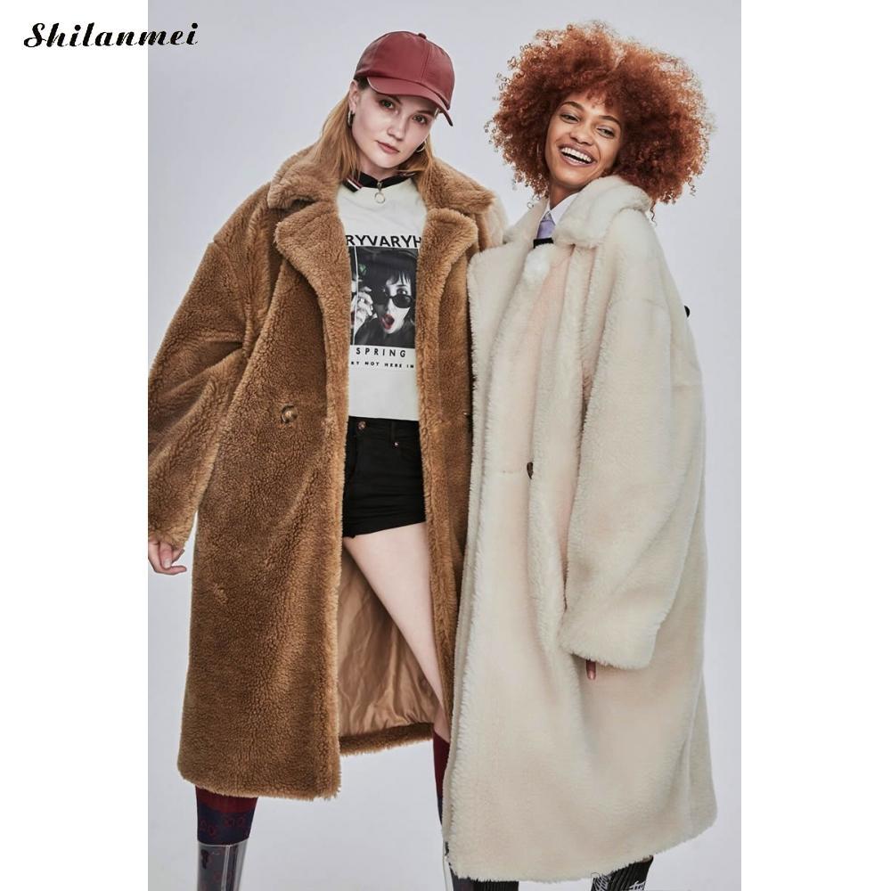 Long Leopard Print Faux Fur Coat Plus Size Fleece Jacket Women Fashion Pink Teddy Runway Fluffy