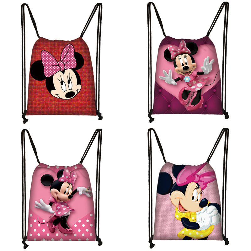 Mickey Minnie Print Drawstring Bag Women Travel Bag Teenager School Bag Brown Girl And Boy Backpack Fashion Female Storage Bag R