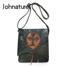 Johnature 2021 New First Layer Cow Leather Vintage Women Bag Versatile Solid Color Large Capacity Shoulder & Crossbody Bags