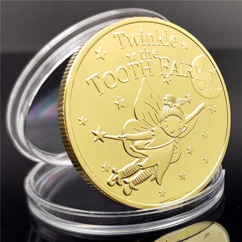 Сказочный подарок для детей, металлическая Золотая монета в виде зубов, игровая монета, подарок для детей на день рождения