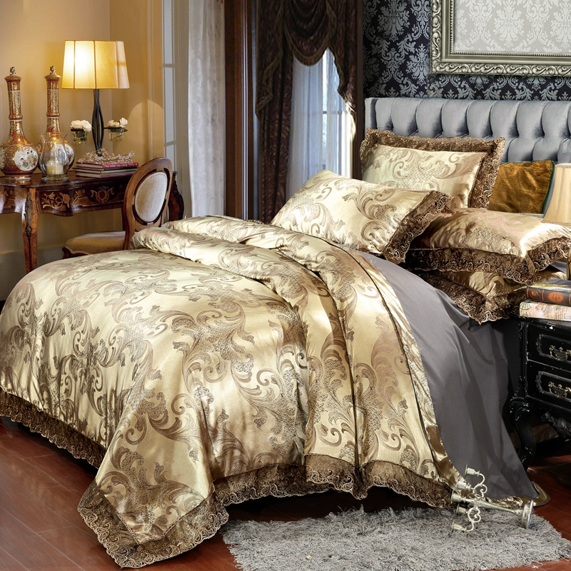 Jacquard Bedding Sets Queen King Size 4pcs Lace Satin Duvet Cover Set Wedding Bedclothes Bedsheet Linen Silk Cotton Bed Set Leather Bag