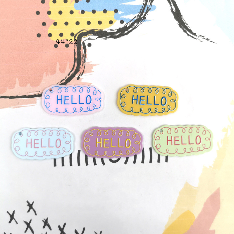 20Pcs Colorful Acrylic HELLO Letter Plate Flat Back Resin Cabochon Jewelry Pendants Embellishments Decor DIY Accessories 42*22mm
