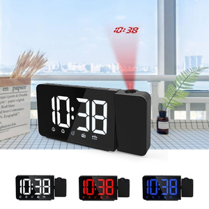 Image 2 - LED 시간 프로젝션 디지털 알람 시계 FM 라디오 스누즈 기능 테이블 시계 시간 메모리와 조절 조명 책상 시계