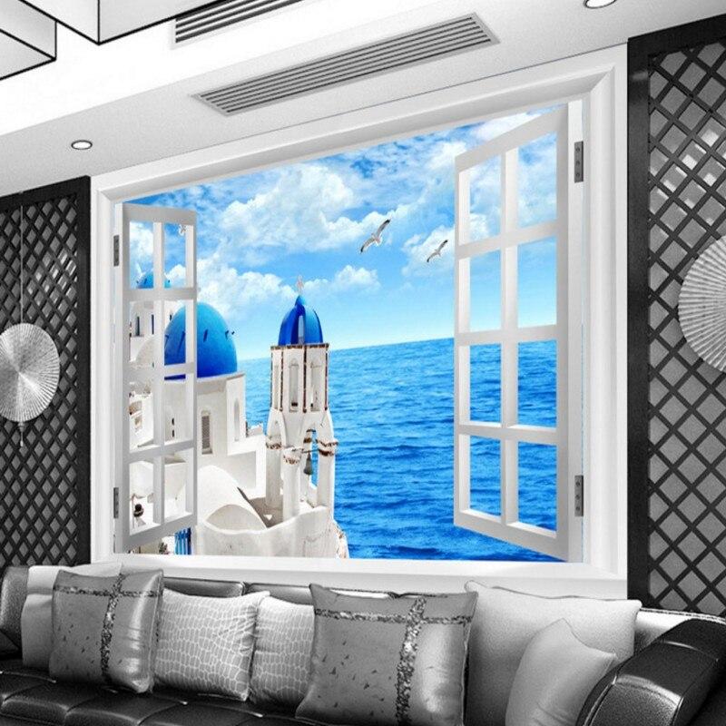 Дропшиппинг Пользовательские синие обои 3D окна Любовь море 3d обои гостиная настенная 3d спальня фотообои Para сравнению|Обои|   | АлиЭкспресс