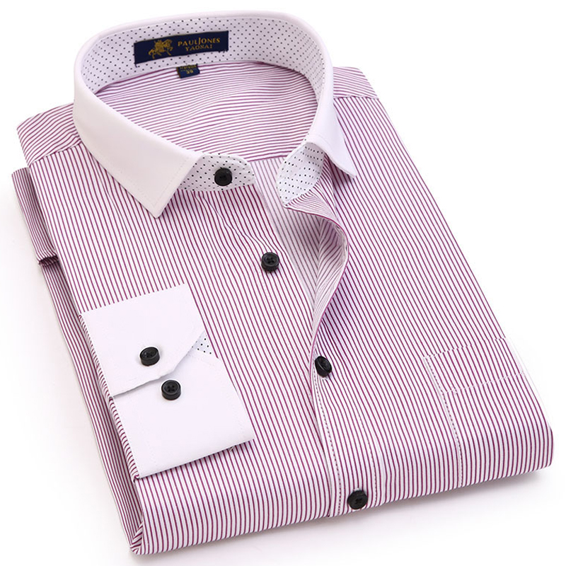 Men's Long Sleeve Contrast Striped Basic Dress Shirts Single Patch Pocket Casual Regular Fit Office Work Button Up Shirt