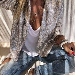 Блёстки с длинными рукавами, блейзеры, модные женские блестящие вечерние блейзеры, пальто, Серебряный Повседневный блейзер с длинным рукав...