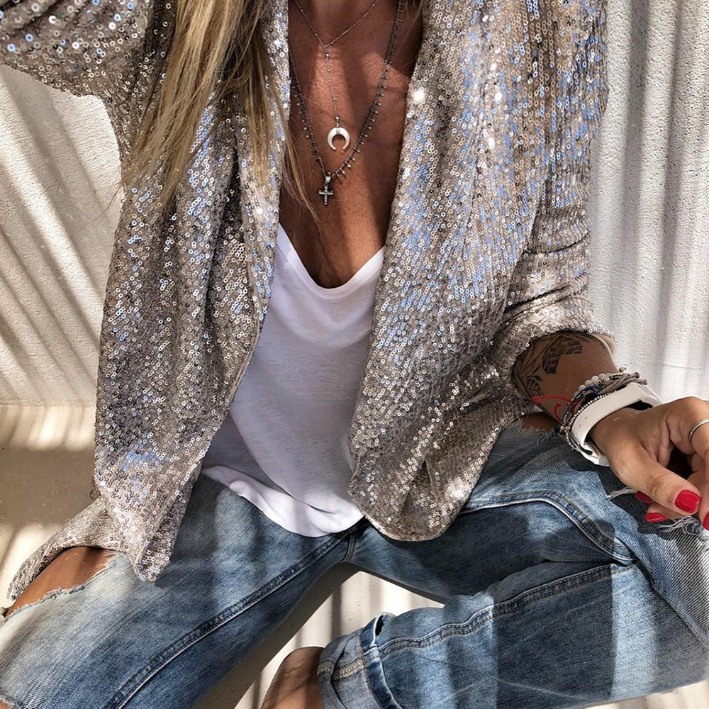 Blazer Jacket Coat Chemise Sequins Long-Sleeved Silver Female Shiny Fashion Women Casual title=