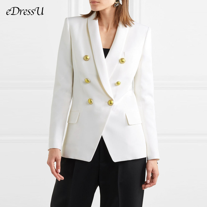 Women Blazer Office Lady Jacket White Shawl Collar Lady Blazer High Quality Elegant Outwear Fit Coat Women Jacket HYG-2015