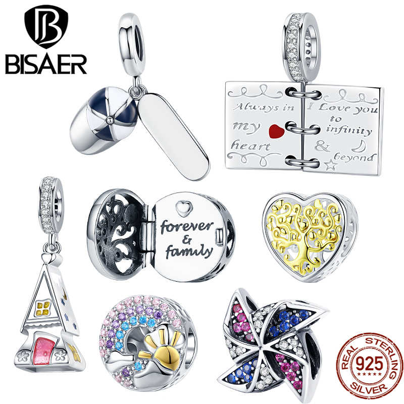 Bisaer 100% 925 Silver Dream Life Series Warm Home Love Letter Famlily Windmill Rainbow Baseball Cap Charms Beads DIY Jewelry