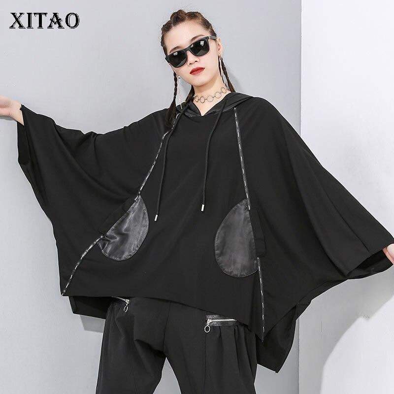 XITAO 2020 Early Spring New Hooded T Shirt Trend Plus Size Bat Tops Women Irregular Streetwear Tee Oversized Tshirt ZLL4609