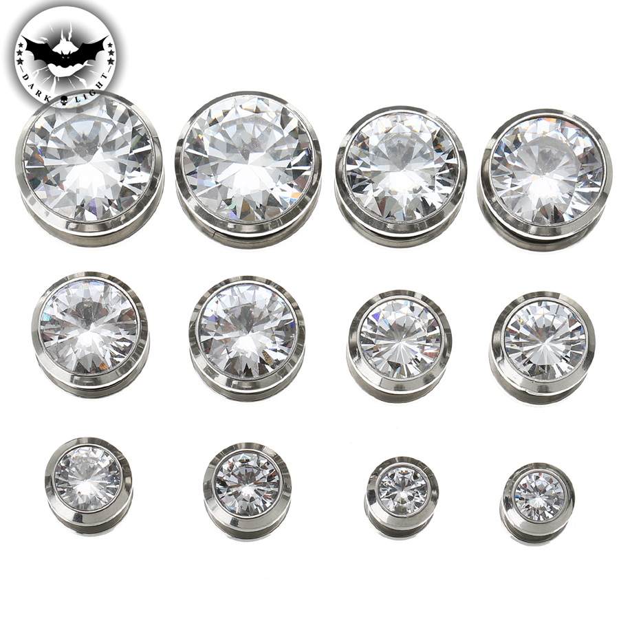 1Pair Cubic Zirconia Ear Tunnel Stainless Steel Plugs Gem Gauges Body Piercing Shinning Ear Reamer Expander 3mm-16mm
