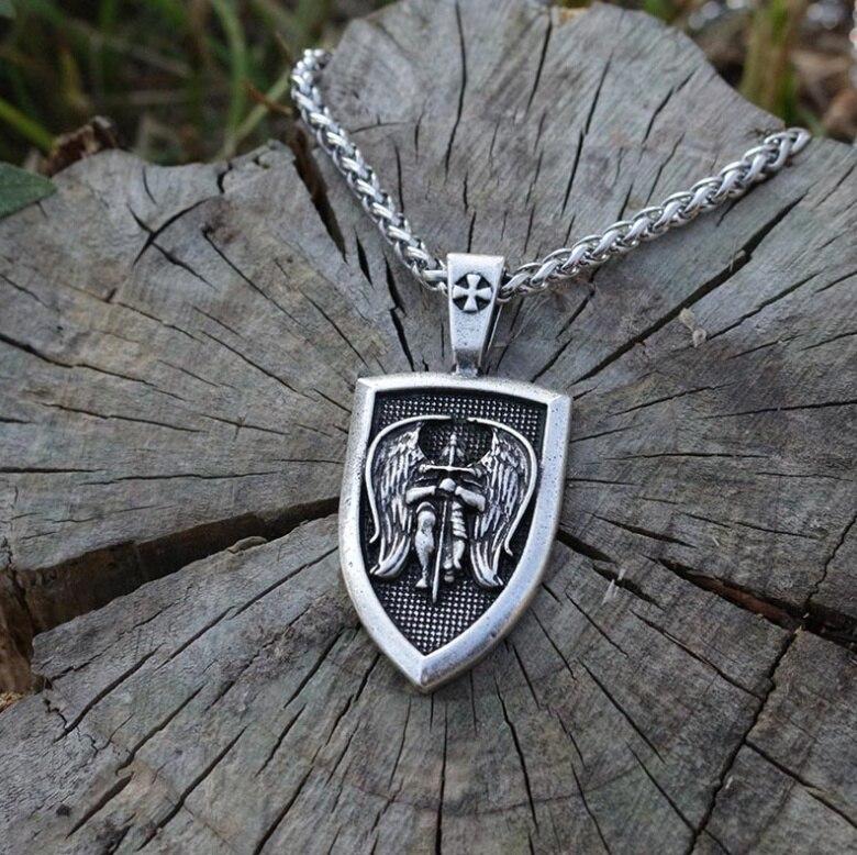 Мужское ожерелье с подвеской в виде крыла арчангеля св. Майкла защитный щит защитный кулон религиозный амулет ювелирные изделия