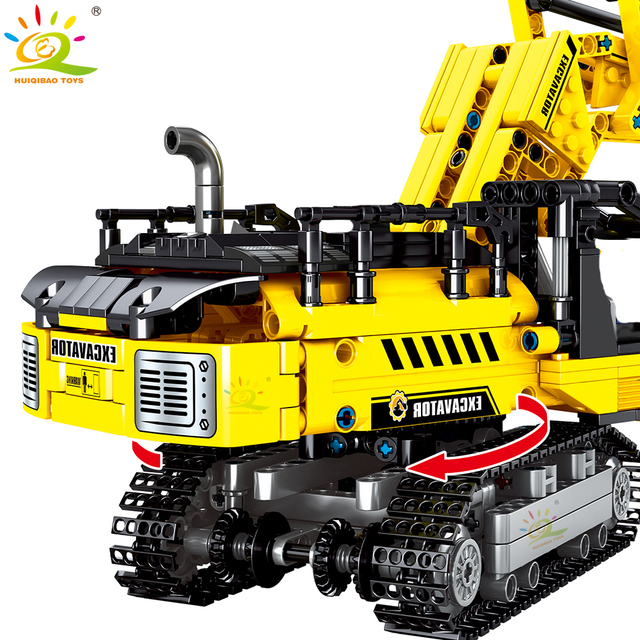 HUIQIBAO 841pcs Crawler Excavator Building Blocks Technic City Engineering Construction Bricks Toys For Children boy gift