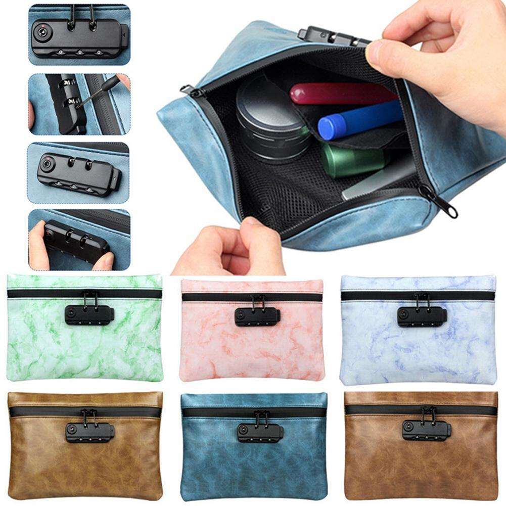 Smell Proof Tobacco Bag Portable Travel Activated Carbon Coded Lock Smell Proof Tobacco Bag Storage Case Faux Leather Handbag