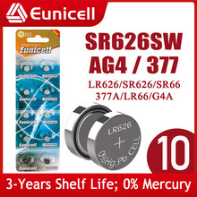 Eunicell 10pcs SR626SW LR626 AG4 Button Pilas Batteries SR66 LR66 377 377A 1.5V Alkaline Cell Coin Battery For Watch Toy Clock