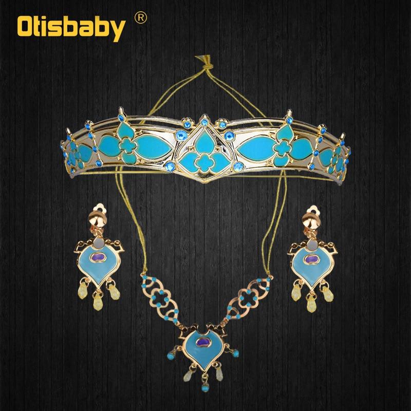Girls Women Aladdin Jasmine Princess Necklace Earrings   Headwear   Cosplay Accessories Clips Earrings without Pierced Ear Clip