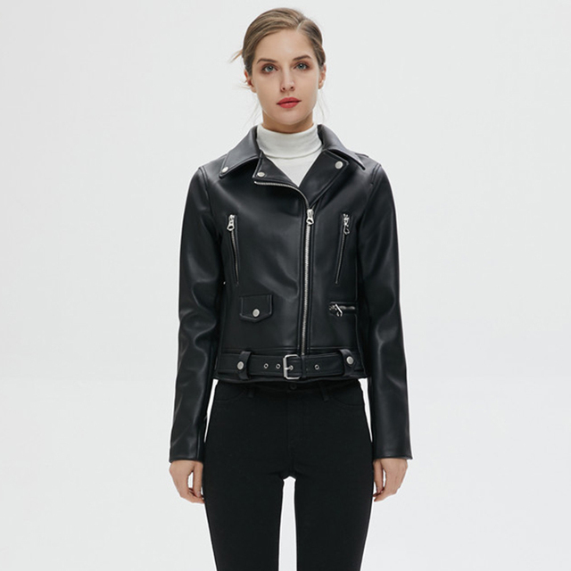 Women Autumn Winter Black Faux Leather Jackets Zipper Basic Coat Turn-down Collar Motor Biker Jacket With Belt 6