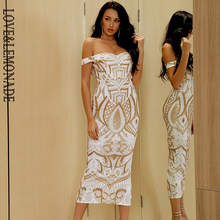 Dress Card LEMONADE Sequined Small-Sleeves Over-The-Knee Shoulder White Geometric-Figures