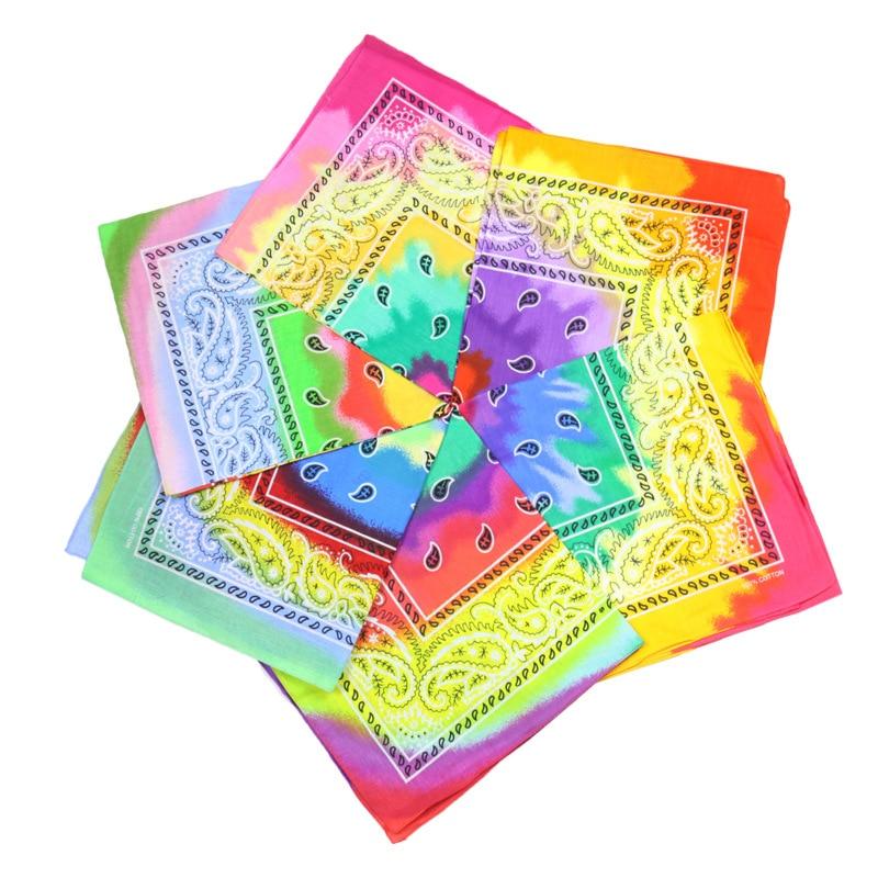 Multicolor Cotton Tie Dye Bandana Head Wraps Rainbow Swirl Paisley Square Scarf Women Men Hip Hop Street Dance Neck Wrist Band