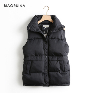 Image 2 - BIAORUINA Womens Korean Style Solid Sleeveless Winter Keep Warm Winter Vest Coat Single Women Breasted Loose Thick Fashion Vest