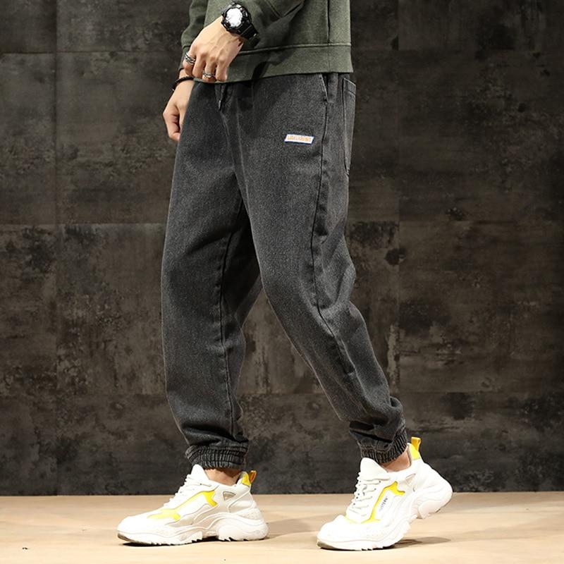 Japanese Vintage Fashion Men Jeans Retro Black Gray Loose Fit Denim Cargo Pants Harem Jeans Streetwear Hip Hop Joggers Jeans Men