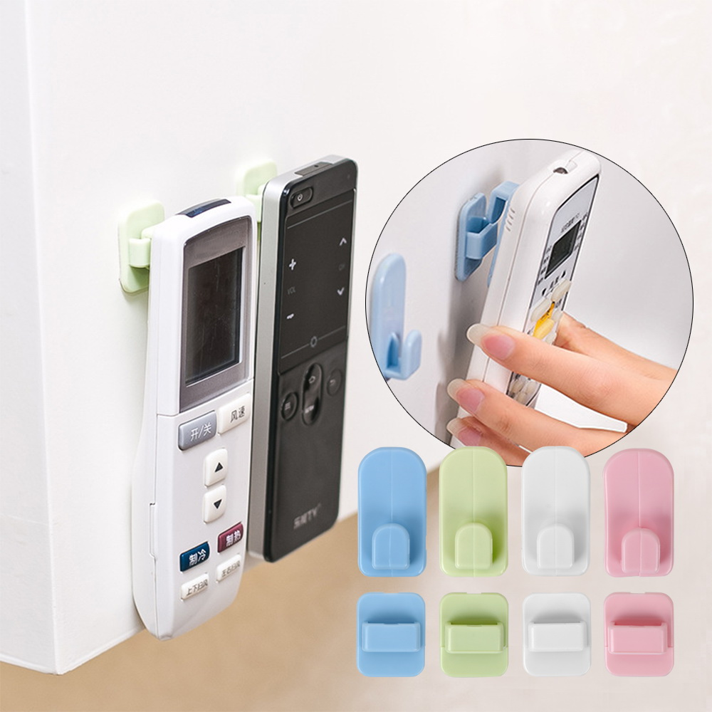 For TV Air Conditioner Controller  Adhesive Tape Hanger Wall Storage Remote Control Holder Sticky Hook Set 4pcs/set ABS