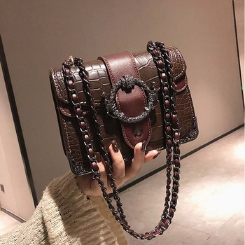 Elegant Stone Pattern Tote crossbody bag High Quality PU Leather Women's Designer Handbag Metal Lock Shoulder Messenger Bags klonca freeshipping chic female handbag new designer stone flap bag high quality pu leather versatile crossbody bag 2019 hot