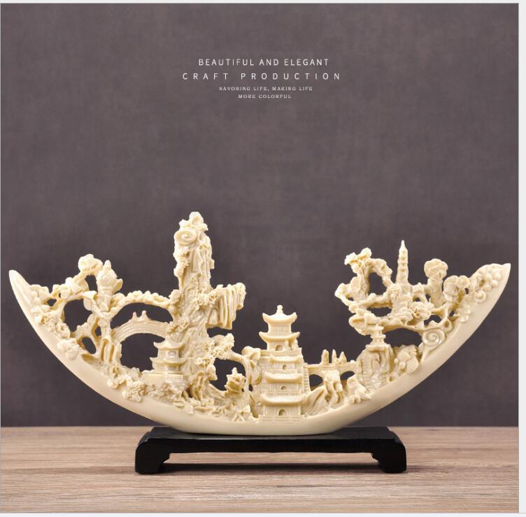 Vela Estilo europeu Resina Figurines Artesanato Casa Ornamentos Presentes Abertura de Escritório Dengshui Hotel Marfim Mesa Estátua Decoração