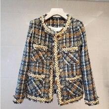 Женская твидовая куртка на пуговицах, с круглым вырезом и длинным рукавом