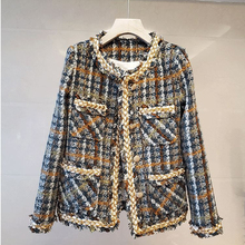 Vintage Palid Tweed Jacket Women Design Buttons O-Neck Long Sleeve Autumn Winter