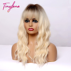 Image 3 - TINY LANA Medium Length Ombre Blonde Golden Synthetic Wigs Natural Hair  with Bangs Wavy Heat Resistant Fibre Cosplay Women wigs