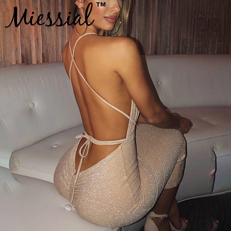 Miessial Gold Luxury Deep V Backless Bodycon Long Dress Women Lace Up Elegant Party Night Dress Winter Sexy Club Dress Vestidos