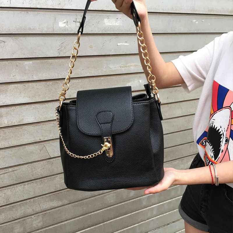 Echte Foto Vrouwen Tas Hoge Kwaliteit Pu Leather Emmer Crossbody Tassen 2020 Luxe Merk Designer Kettingslot Schouder Handtassen Bag