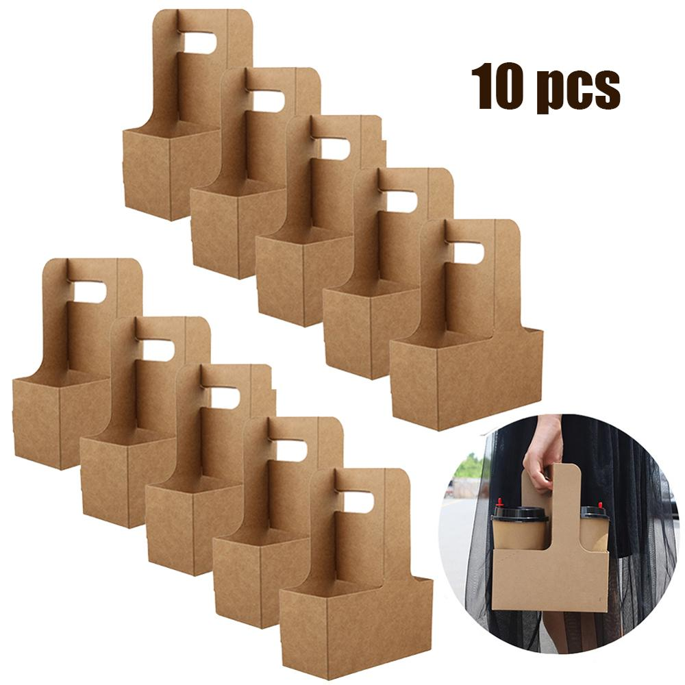 10pcs TTake-out Kraft Paper Cup Holder Clip Disposable Coffee Drink Tray Base With Handle For 2 Cup Party Supplies