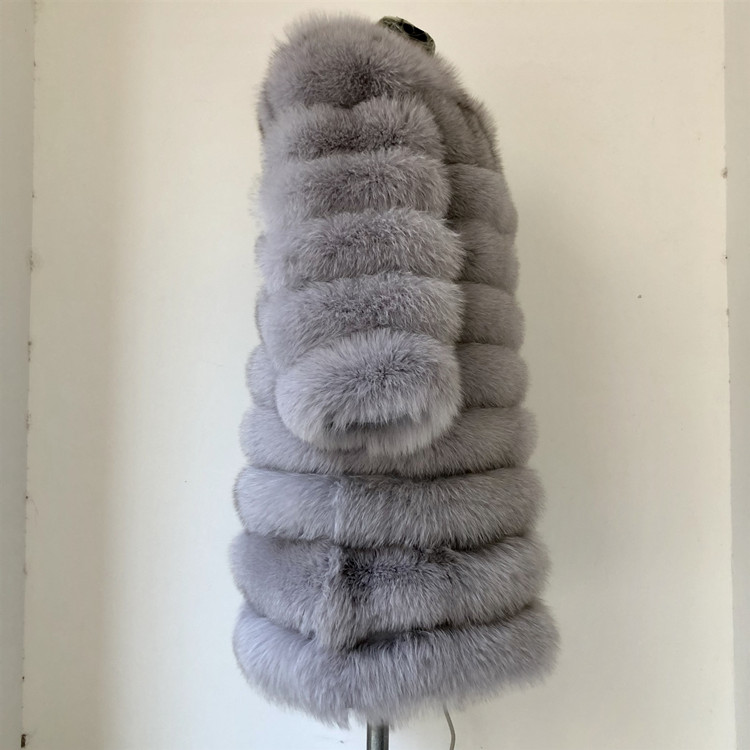 100% Natural Real Fox Fur Coat Women Winter Genuine Vest Waistcoat Thick Warm Long Jacket With Sleeve Outwear Overcoat plus size 83