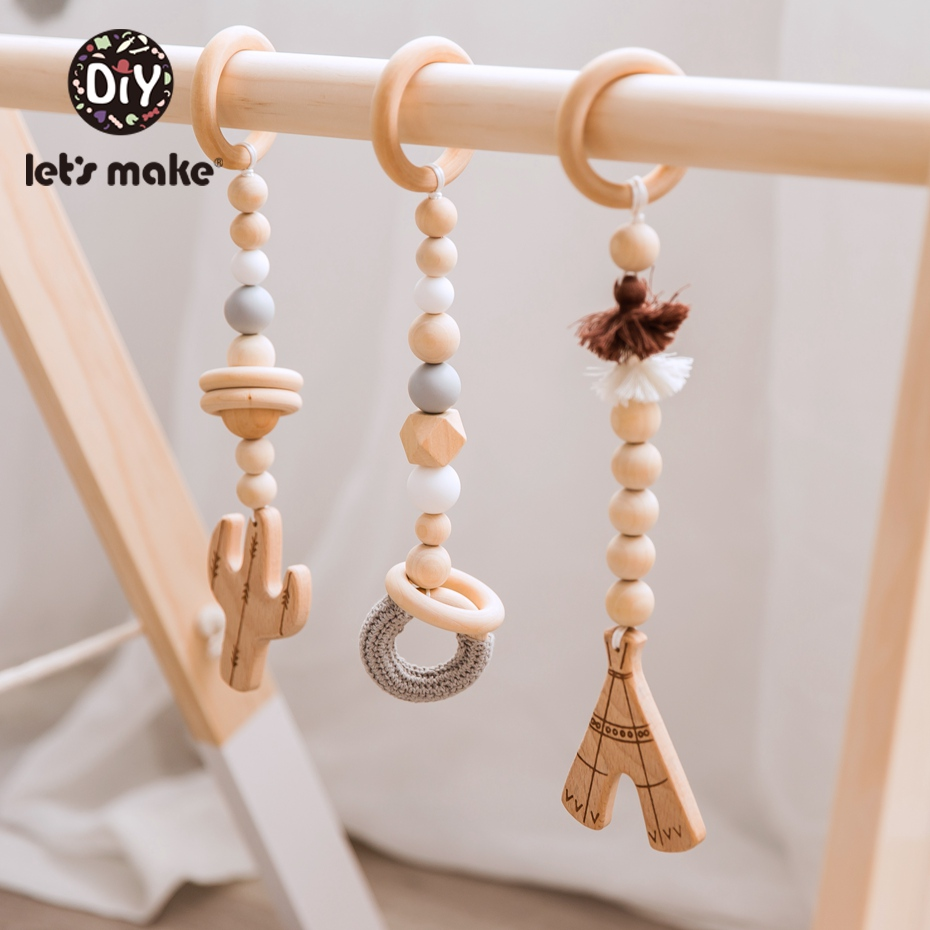 Let's Make 3pc/set Wooden Stroller Pendant Baby Bed Hanging Rattles Toys Infant Baby Comfort Toys Stroller Accessories