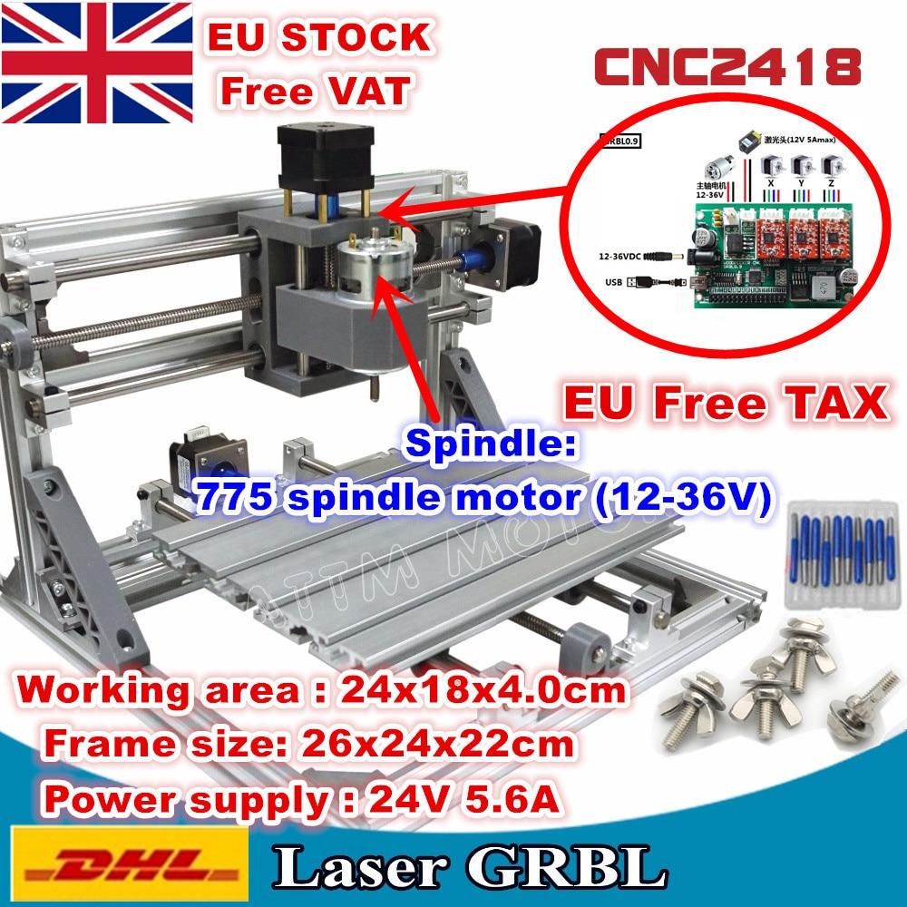 3 оси 2418 GRBL CNC машина управления Diy рабочая зона 24x18x4,0 см Pcb ПВХ лазерная фрезерная машина резьба гравер