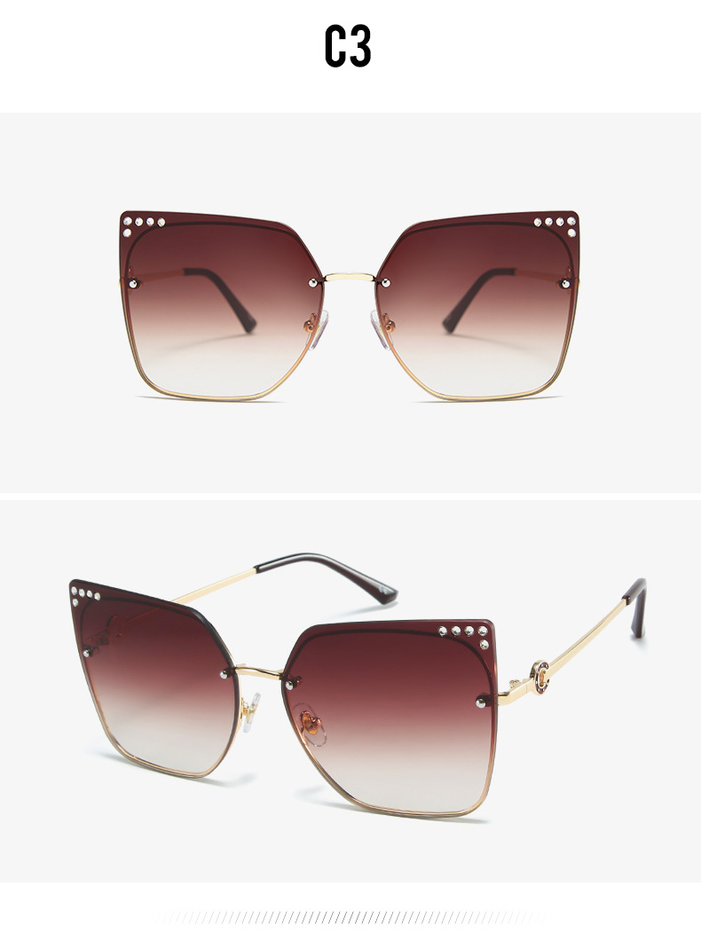 H2029f717a084471ab87fdec61eac6a91f - New Brand Square Sunglasses Women Cat Eye Rimless Sun Glasses Vintage Metal Big Frame Eyeglasses Fashion Outdoor Oculos De Sol