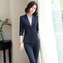 IZICFLY New Autumn Spring Blue Trouser and jacket suit women