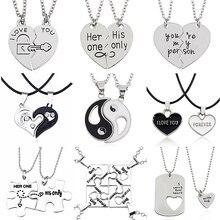 Collier des meilleurs amis Yin Yang Tai Chi, 2 pièces, pendentif unisexe pour couple, cadeau de saint valentin pour amoureux