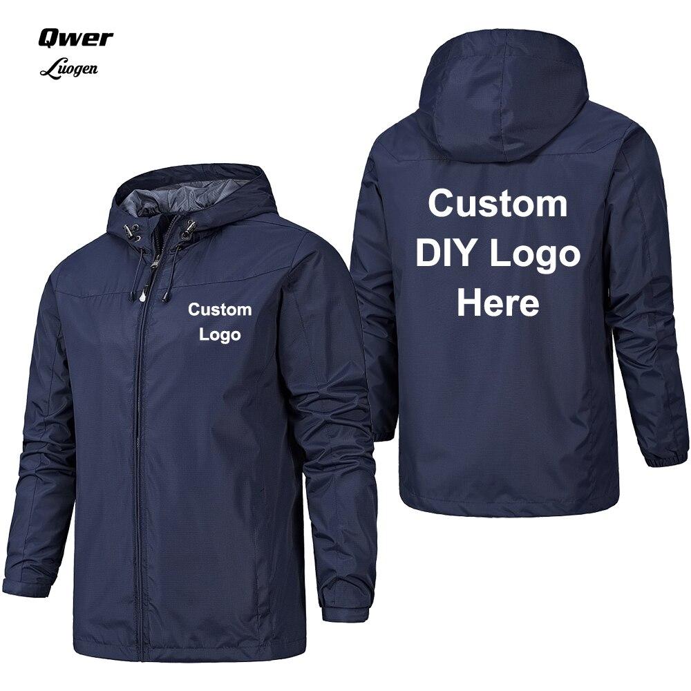 EUR Size Spring Autumn Custom Logo Design Men Jacket DIY Print Zipper Coat Windproof Waterproof Jacket Unisex Outdoor Jackets