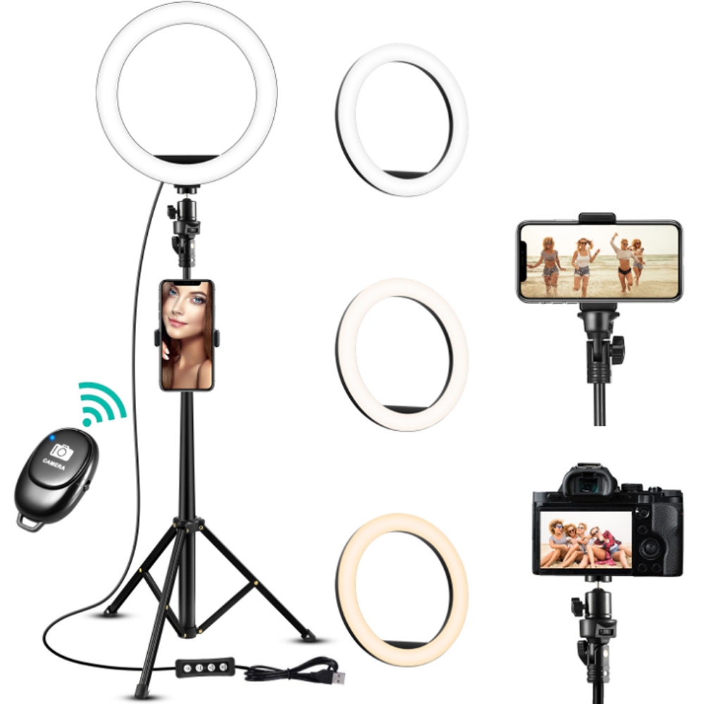 8 Inch Wireless Selfie Ring Light Set Camera Phone Ring Lamp 3 Color Adjusstable With Stand Tripods For Makeup Video Live Studio