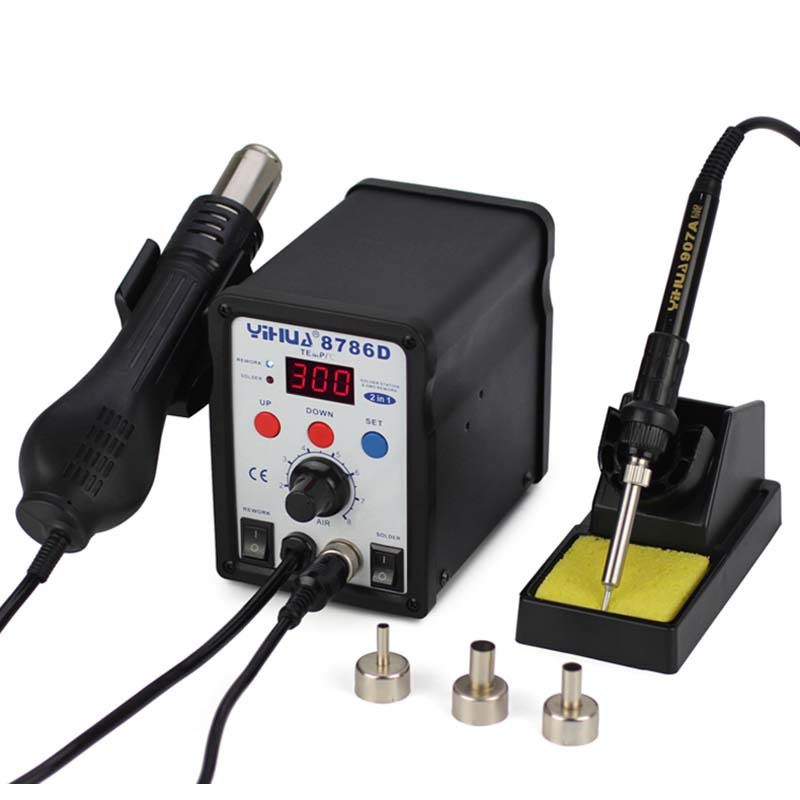 YIHUA 8786D 2 in 1 SMD Rework Soldering Station Hot Air Gun Soldering Station